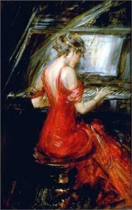 g 1915b Giovanni Bondini (Italian-French artist, 1842-1931) Woman in Red at Piano