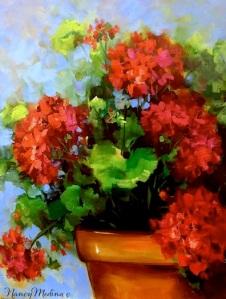 Summer Rain Red Geraniums 16X12 sm